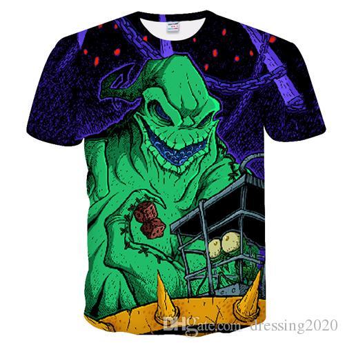 dressing2020 2019 yeni t shirt erkek kabus yılbaşı jak kafatası 3d baskı t shirt yaz erkekler komik tee streetwear hip hop hırka harajuku