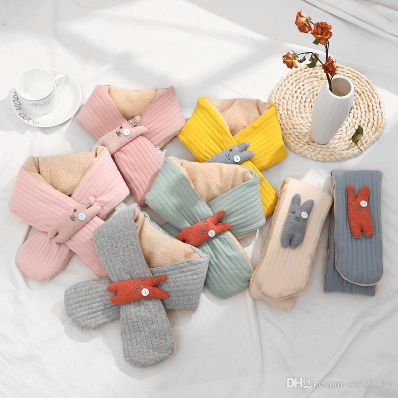 어린이 스카프 귀여운 따뜻한 스카프 중복 십자가 아이 크리스마스 할로윈 선물 아동 목도리 만화 스카프 랩
