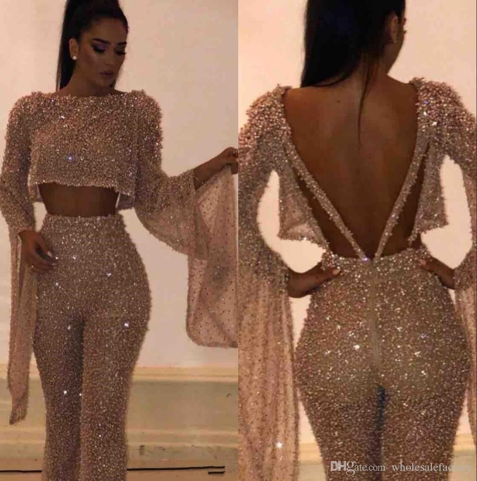 2019 Fake Two Pieces Long Sleeves Sequins Prom Dresses Sparkling Tops and Pants Long Vestidos de Festa Party Evening Gowns BC0240