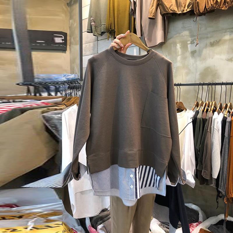 Tops SuperAen com capuz falso de duas peças das mulheres Moletons 2019 Outono New Cotton Casual Moletons Feminino em torno do pescoço de mangas compridas T200102
