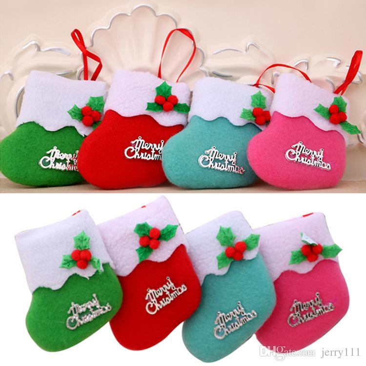 4 renkler Noel dekorasyon sahne şeker hediye çanta yılbaşı çorap süslemeleri Mer Noel küçük Boot süsler DHL JY418