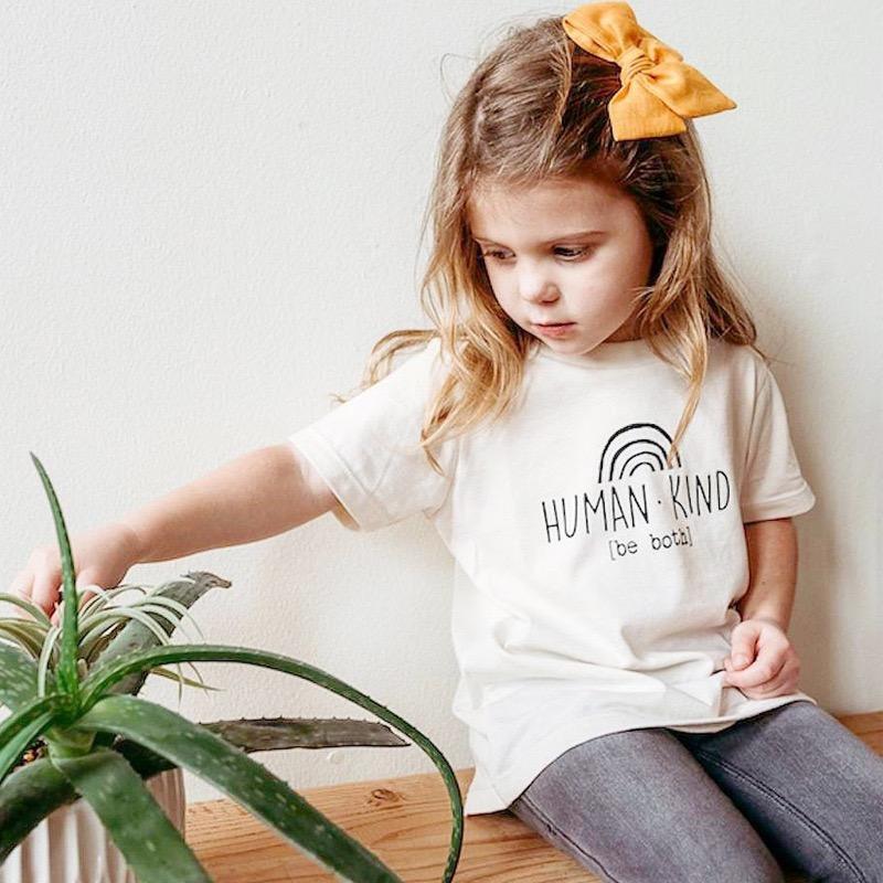 GRH Newest Kids Little Girls Boys Rainbow Tees Pure Cotton T-shirts Tops HUMAN KIND BE BOTH Letters Summer Short Sleeve Children Unisex