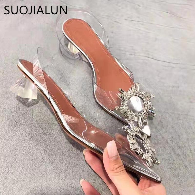 SUOJIALUN 2020 ربيع المرأة الصنادل كريستال شفاف أحذية ساحة منخفضة الكعب مضخة اللباس أحذية أشار تو الانزلاق على الشرائح