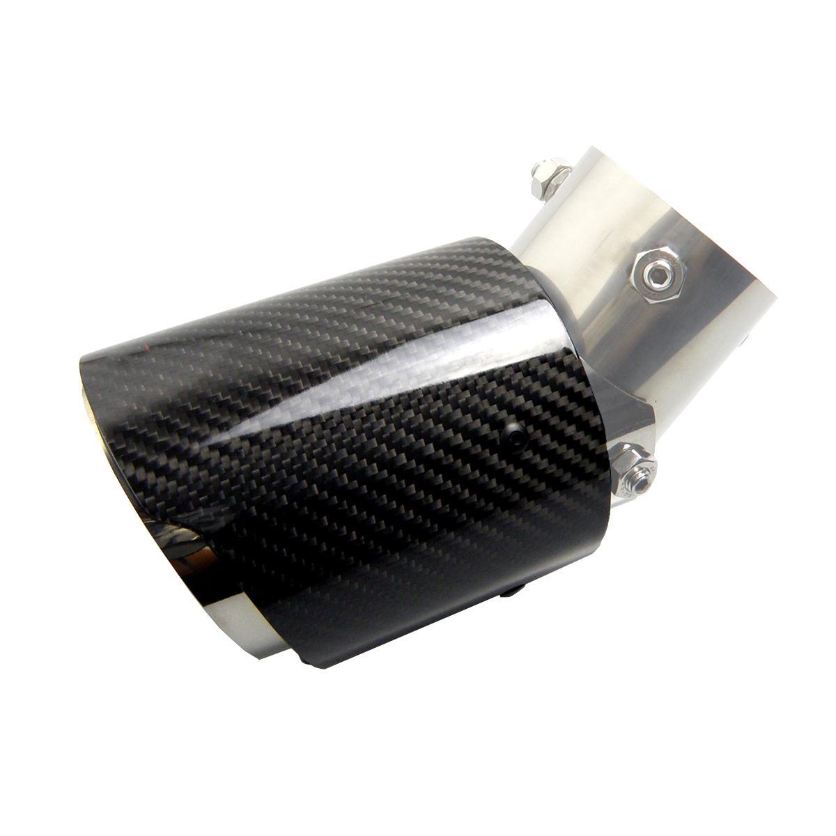 Ángulo ajustable de escape de fibra de carbono Consejos coche tubo de escape del silenciador punta de fibra de carbono del borde recto del logotipo de AK para accesorios de automóvil