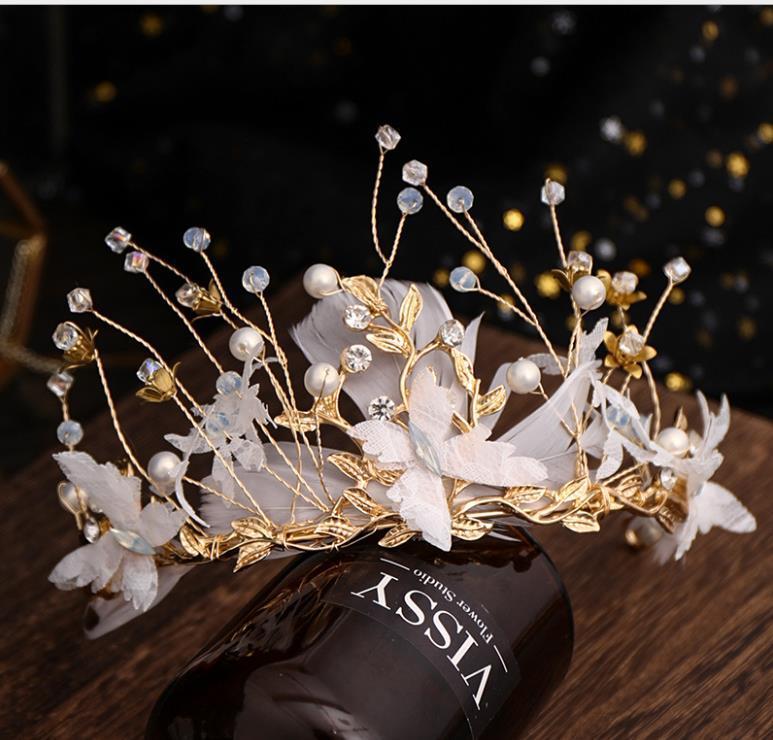 coiffe de plumes main européens et américains serre-tête mariage coiffure Diadème de mariée mariage tiare