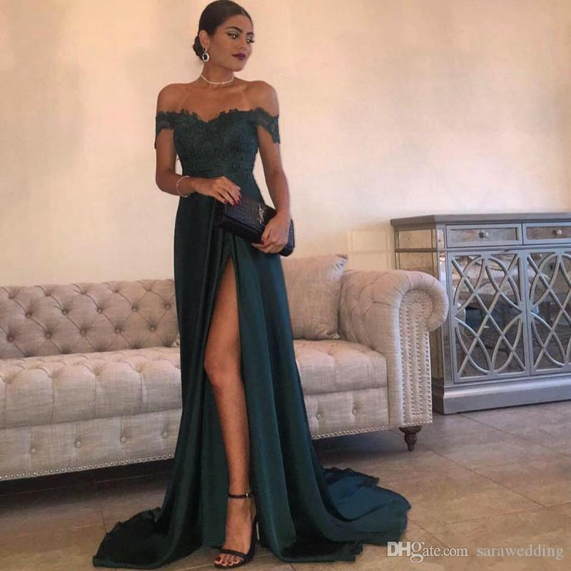 Abiti Da Sera Online.Off Shoulder Satin Long Prom Dresses With Lace Appliques New Split