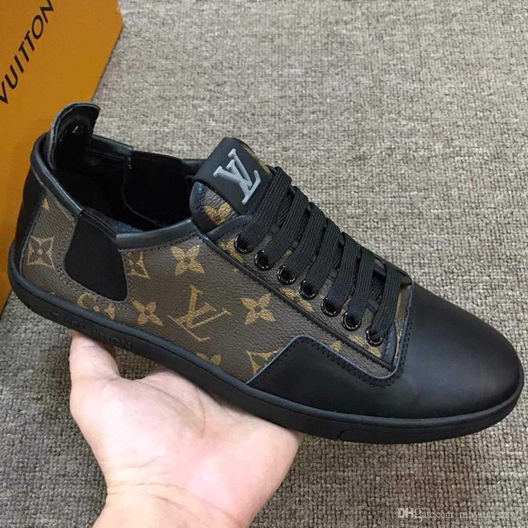 louis vuitton Lv 2020 üst seviye lüks moda trendi rahat ayakkabılar vahşi düz tabanlı açık hava spor ayakkabılar kutusu ile rahat mokasenlerimi ayakkabılar sürüş kıdemli erkek