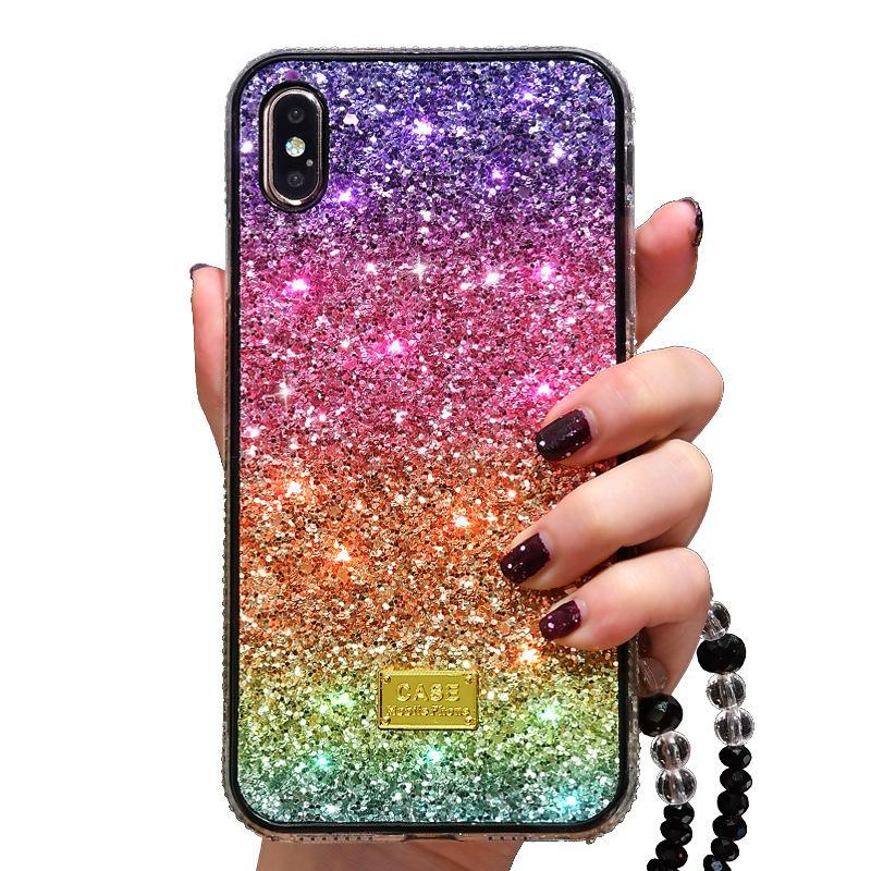 bling bling di lusso cassa del telefono strass di scintillio di iphone 11 12 pro 6 7 8 più copertura della cassa posteriore di colore X XR XS MAX Diamante arcobaleno gradiente