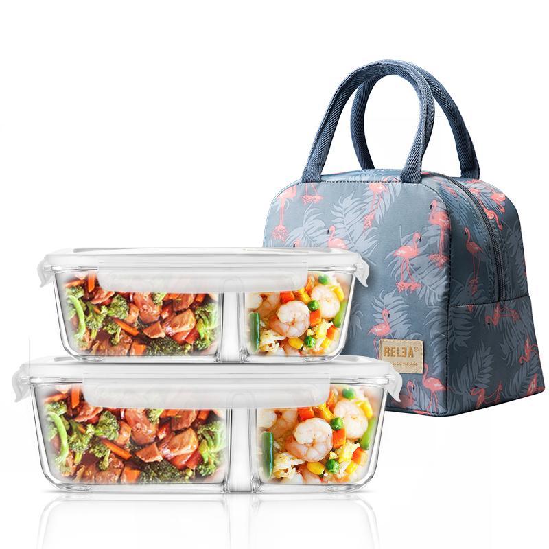 La caja de almuerzo para microondas de vidrio con Divisor, Tapa, bolsa; Preparación de comidas de Envases de almacenamiento de alimentos con 2 compartimentos; El almuerzo SH190928 de contenedores