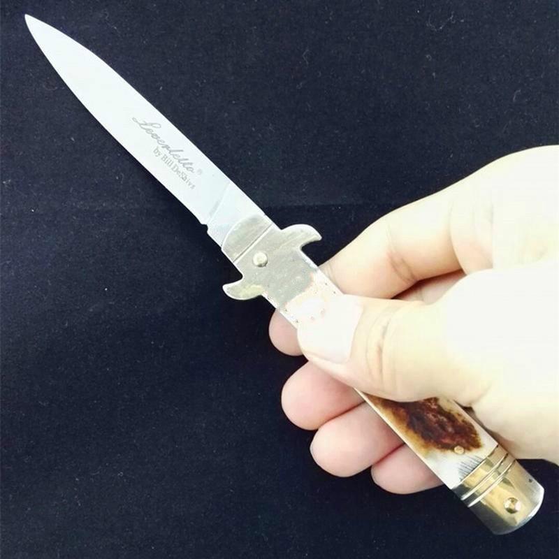OEM 7,75 pulgadas de recogida de aguja Bill DeShivs Leverletto cuerno del macho cuchillos de regalo ITA Cuchillo D2 hoja de cuchillo automático de engranajes para el hombre 1pcs Adru