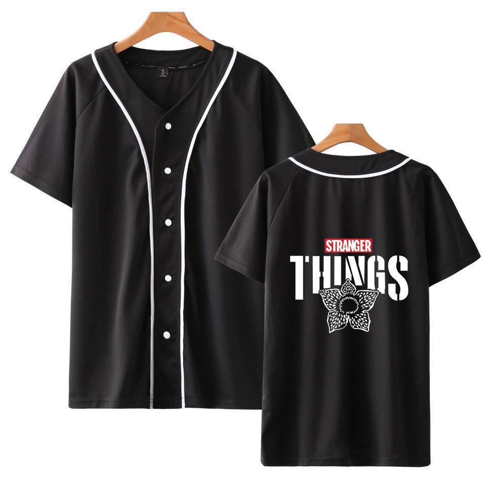 أشياء غريبة تي شيرت النساء / الرجال المتناثرة واحدة برستد البيسبول شيرت الصيف قصيرة الأكمام البيسبول جيرسي ملابس التين