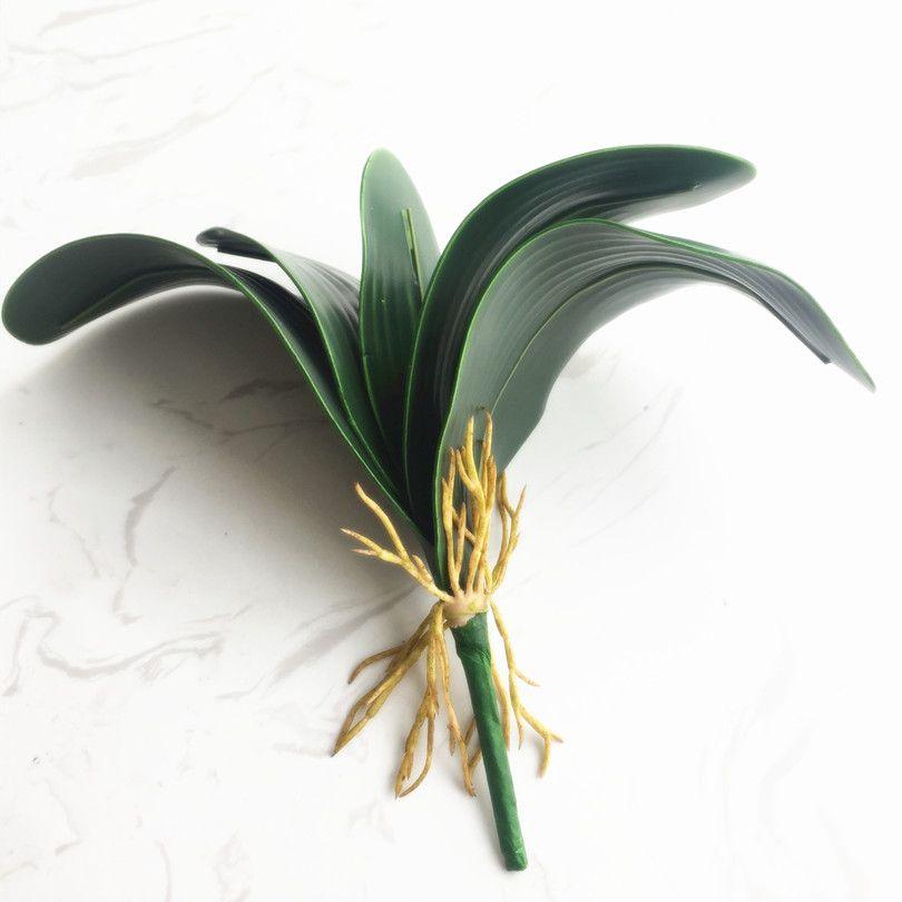 Orchidea liść zielona roślina 26cm sztuczny motyl orchidea liść wiązka 5 liść płatki na wiązkę do akcesoriów aranżacji kwiatowych