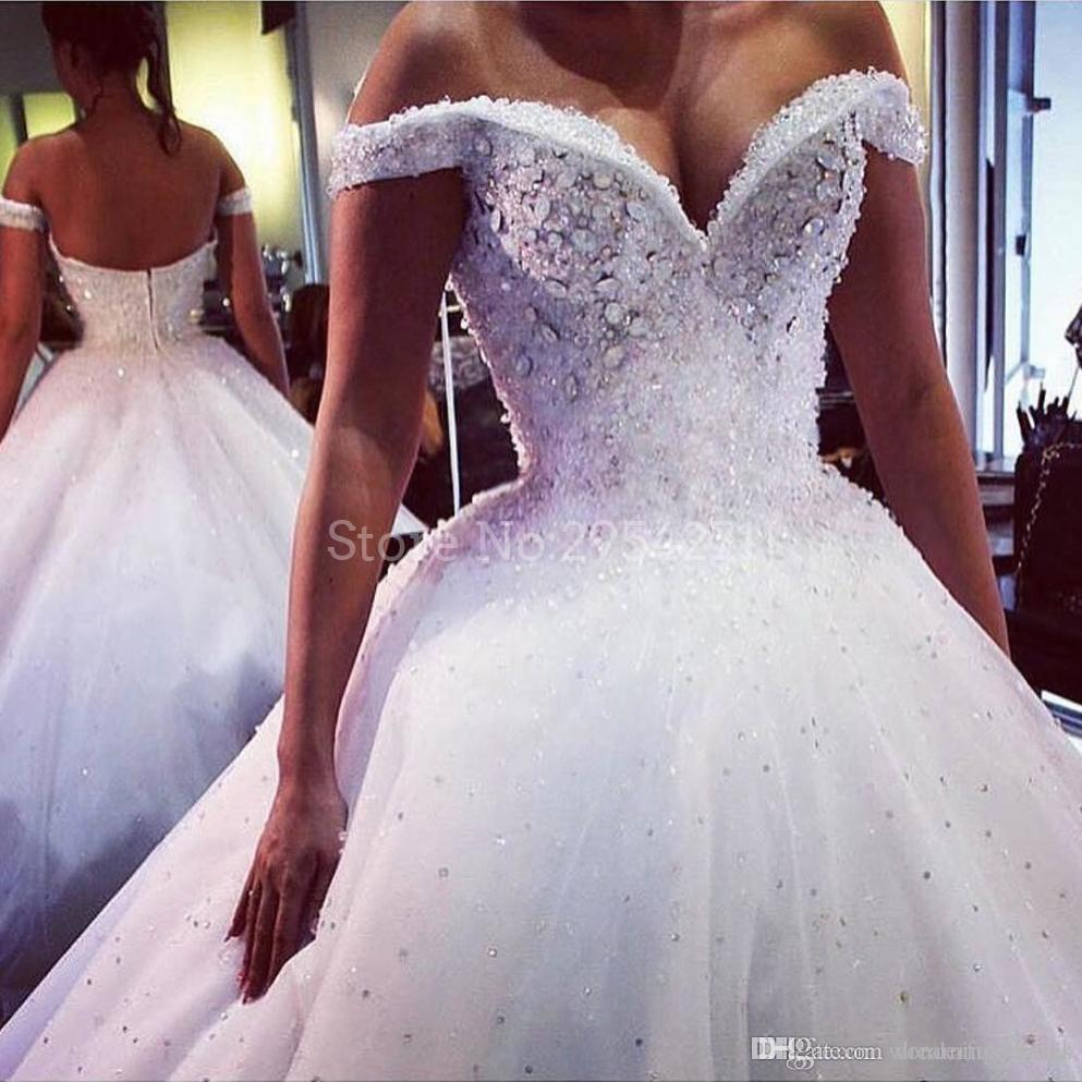 Vestido De Novia Bing Bing Kristalleri Sequins Boncuk Gelinlik 2017 Gelinlikler Sweep Tren Omuz Kapalı Robe Mariage