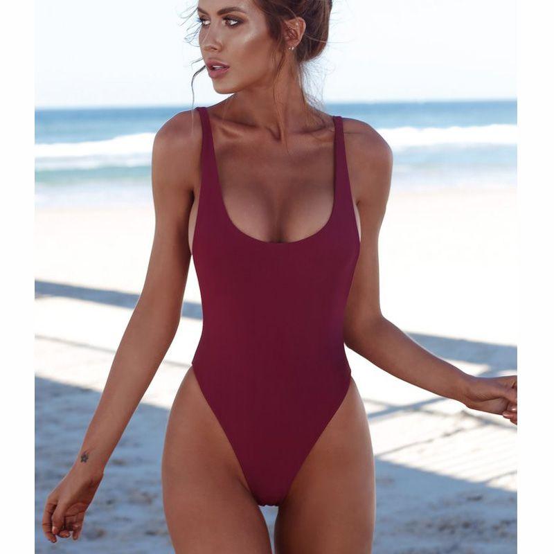 ثونغ أسود 2018 مثير المرأة قطعة واحدة ملابس السباحة الصلبة الإناث عارية الذراعين البرازيلي ملابس النساء monokini بحر المايوه