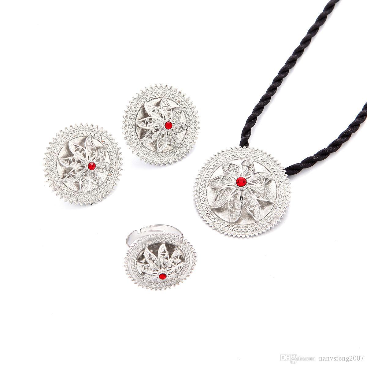 مشرق الفضة زهرة الاثيوبية مجوهرات الزفاف قلادة سلسلة أقراط الطوق أفريقيا إريتريا إثيوبيا الفضة مطلي مجوهرات