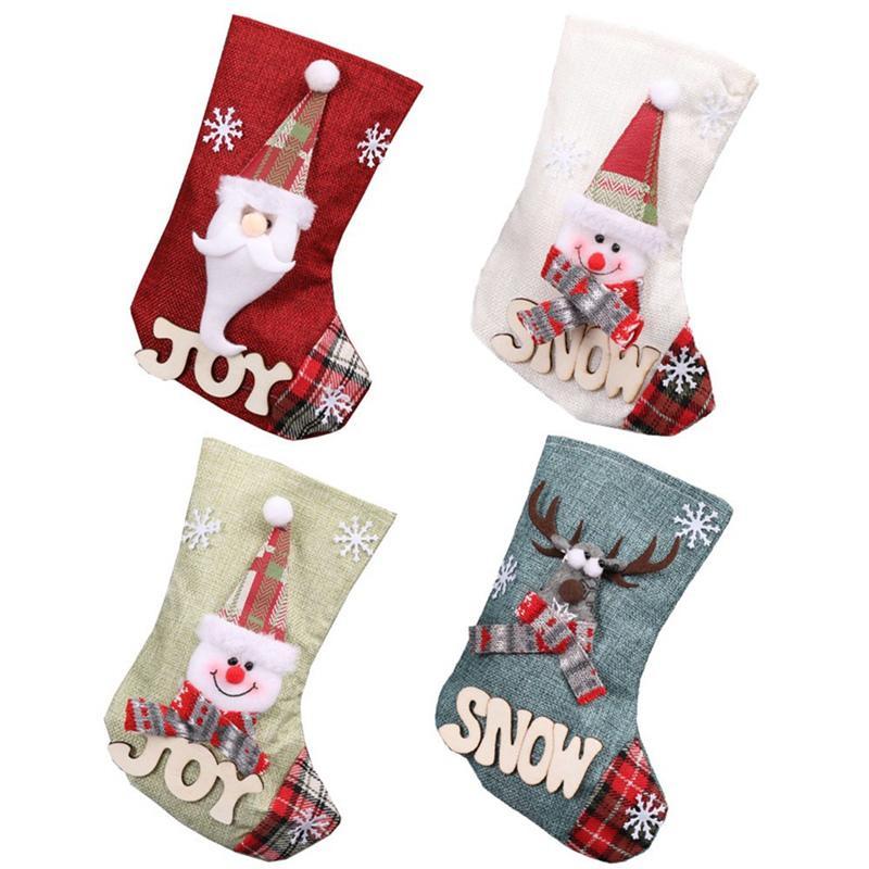 Bolsa de Navidad que almacena el mini calcetín de Papá Noel del regalo del caramelo del árbol de Navidad Medias colgantes de la decoración de Navidad
