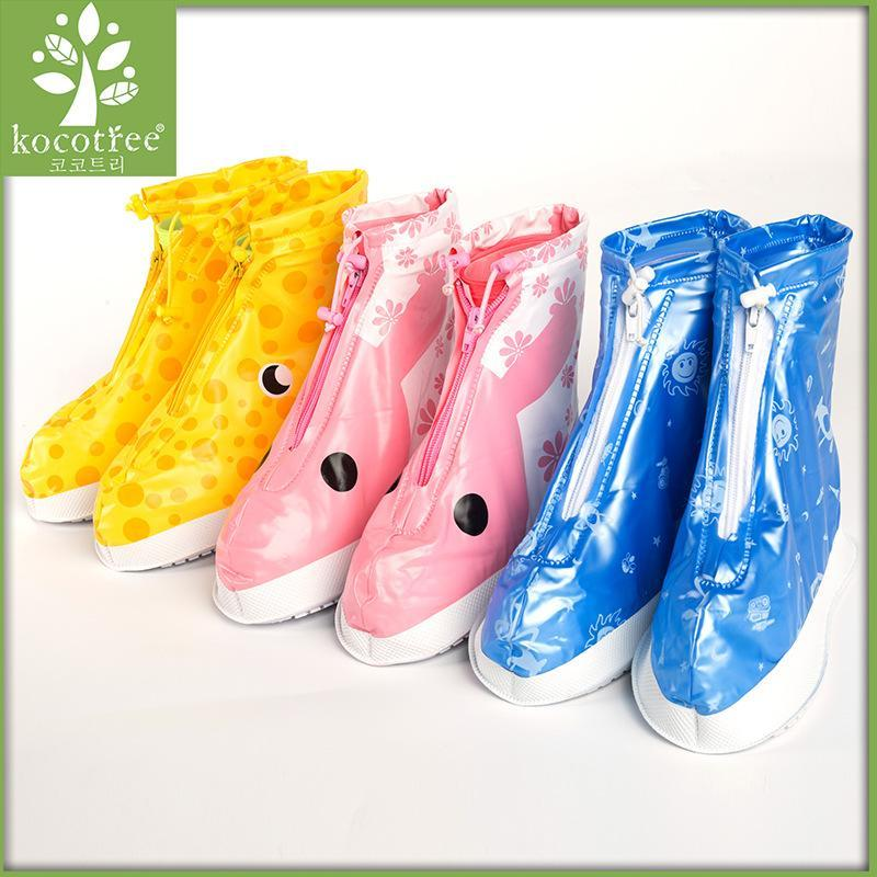 Kocotree Kinder Wasserdichte Schuhe Überschuhe Galoschen-Kind-Karikatur Reißverschluss Non-Slip Elastic Regen Schuhe für Regen Stiefel Btpux