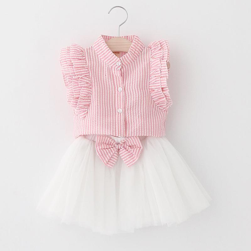 Été bébé filles ensembles 2pcs fille chemise à manches volantes à rayures verticales + jupes à volants filles tenues bébé survêtement enfants boutique vêtements
