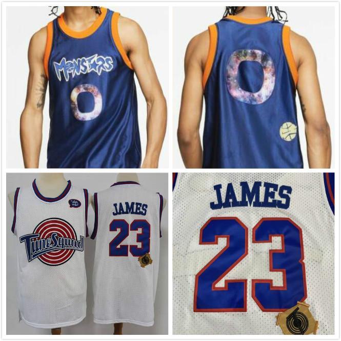 "2020 Tune Squad Looney Monstars Space Jam LeBron James ADN Jersey blanc bleu NWT James ""Space Jam"" # 23 Tune Squad Men Cousu Maillots"