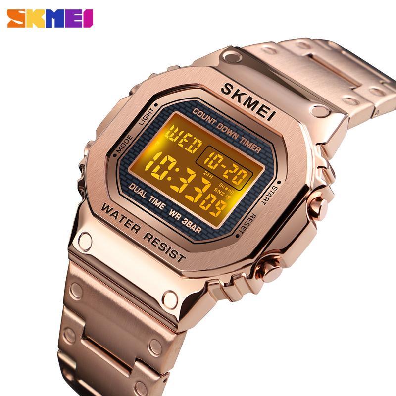 Top Brand SKMEI donne degli uomini orologi digitali di conto alla rovescia del cronografo di lusso di modo luminoso elettronico Bracciale Sport orologio da polso