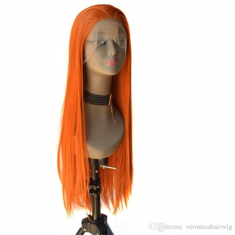 New Sexy Long Silky Straight Orange Hand Tied Synthetic Lace Front Wig Heat Resistant Fiber Full Hair For White Women Wigs Free Parting