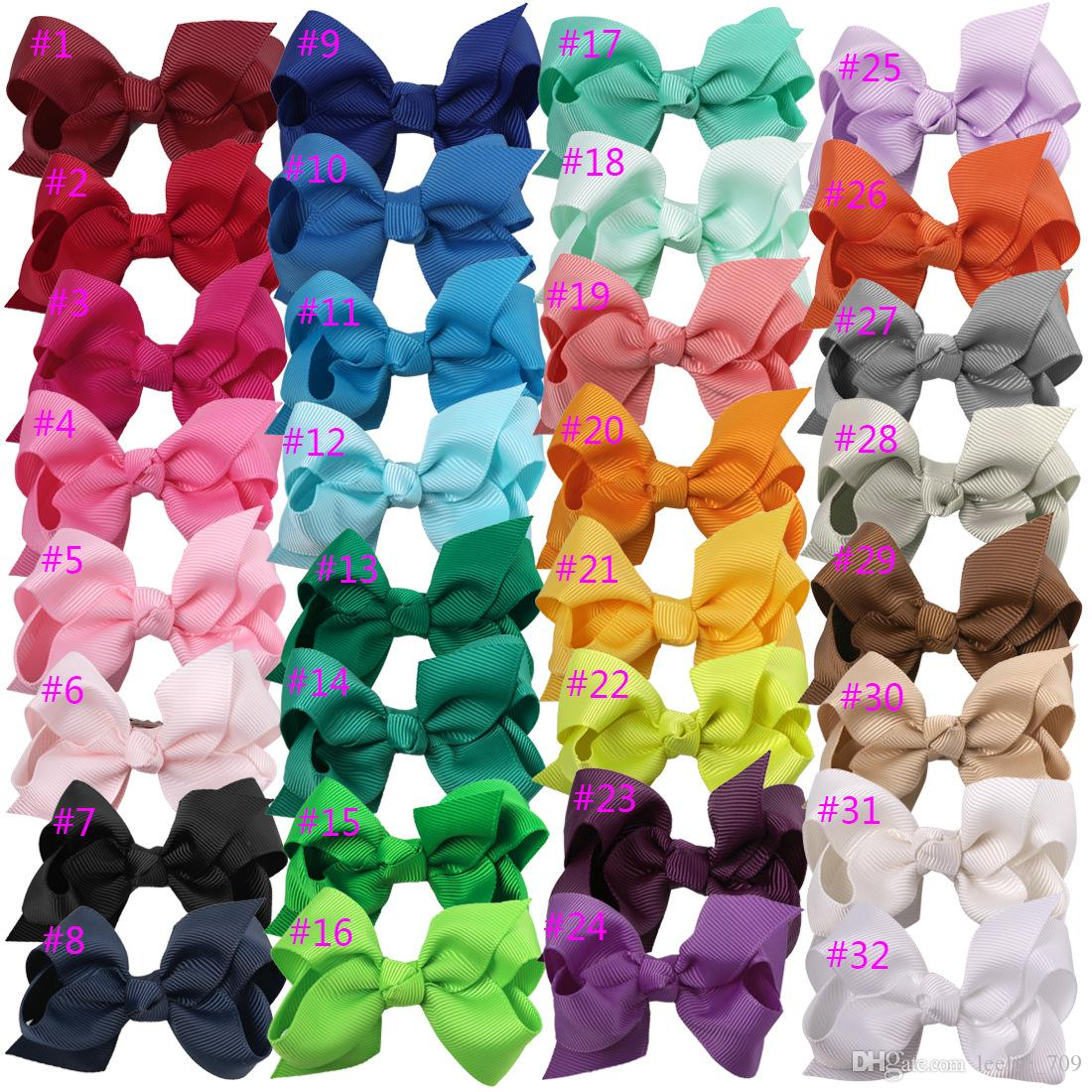 100pcs hot sale Korean 3 INCH Grosgrain Ribbon Hairbows Baby Girl Accessories With Clip Boutique Hair Bows Hairpins Hair ties 31colors