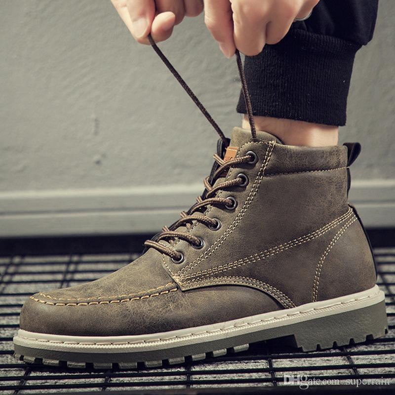 Осень Ранняя зима сапоги Мужская обувь Прохладный Мужчины Boots Мода Street Обувь мужская Single лодыжки Кожаная обувь