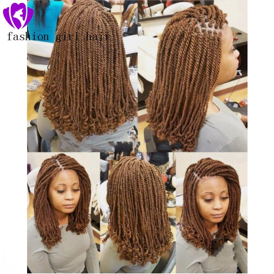 New Short Braided Wigs for Black Women Brown/Black Twist Wigs Synthetic Lace Front Wig Baby Hair short twist Wig with curly tips