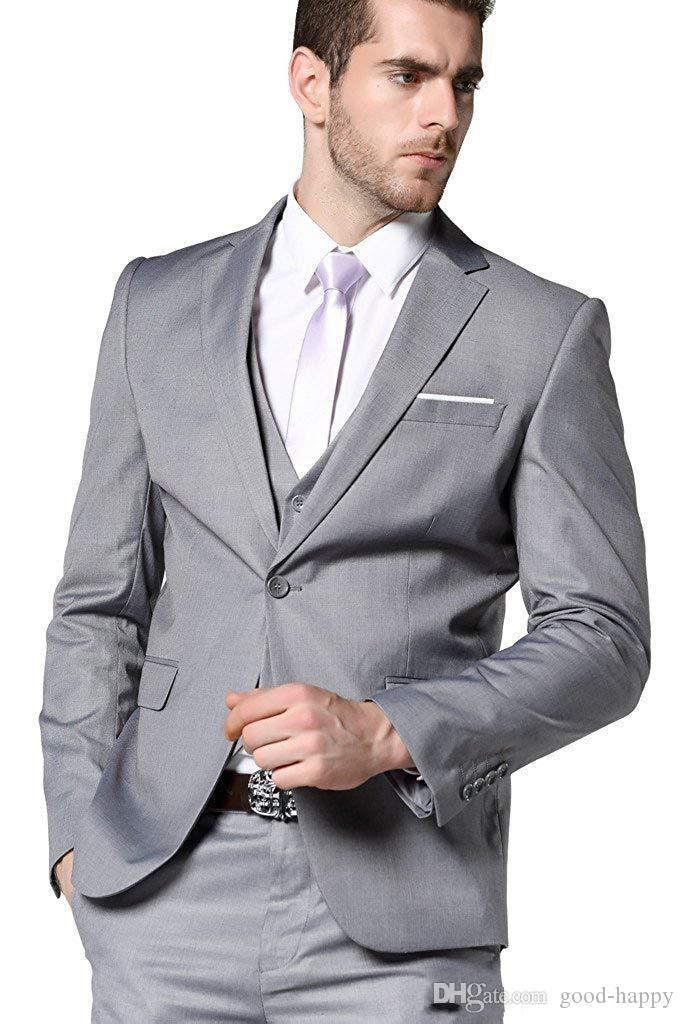 Estrenar gris novio esmoquin muesca solapa de ventilación laterales del padrino de boda 3 piezas traje de chaqueta de los hombres de negocios populares Blazer (Jacket + Pants + Tie + Vest) 8