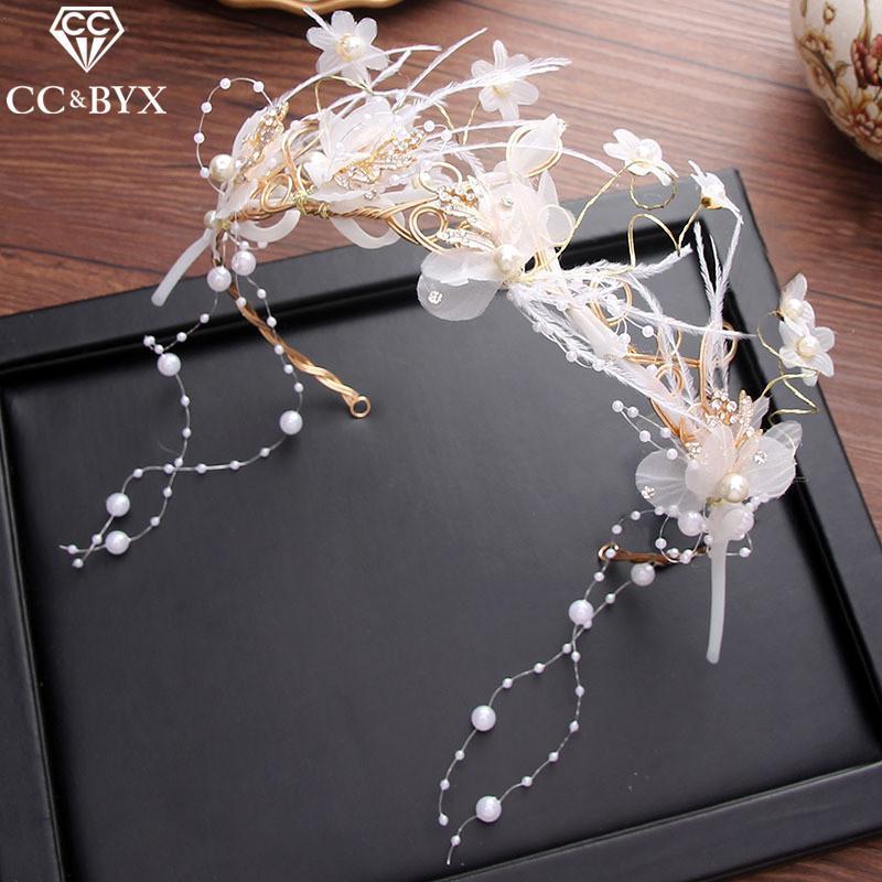 Cc Diademas Hairbands Corona Tiara Hada Pluma Flor Compromiso Boda Accesorios para el cabello para la joyería nupcial hecha a mano Xy126 C19041101