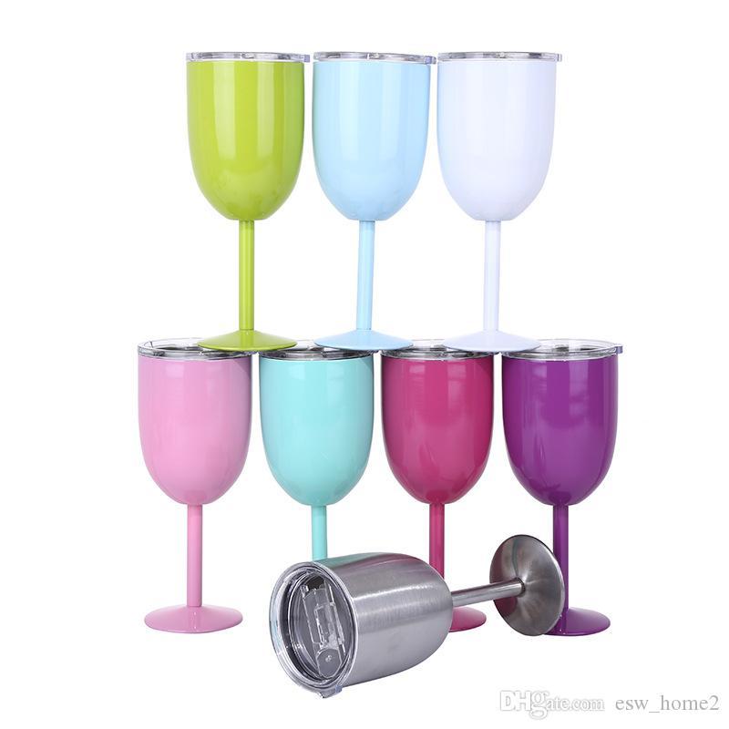 مزدوجة الفولاذ المقاوم للصدأ زجاج النبيذ الاحمر مع اغطية 10OZ كوكتيل زجاج القدح 8 ألوان بار أكواب السيارات