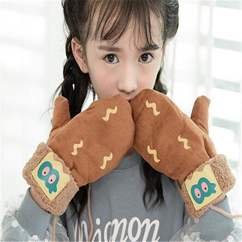 Winter new han edition children more lovely cartoon printing and flocking double-layer faux suede neck warm gloves ST-039