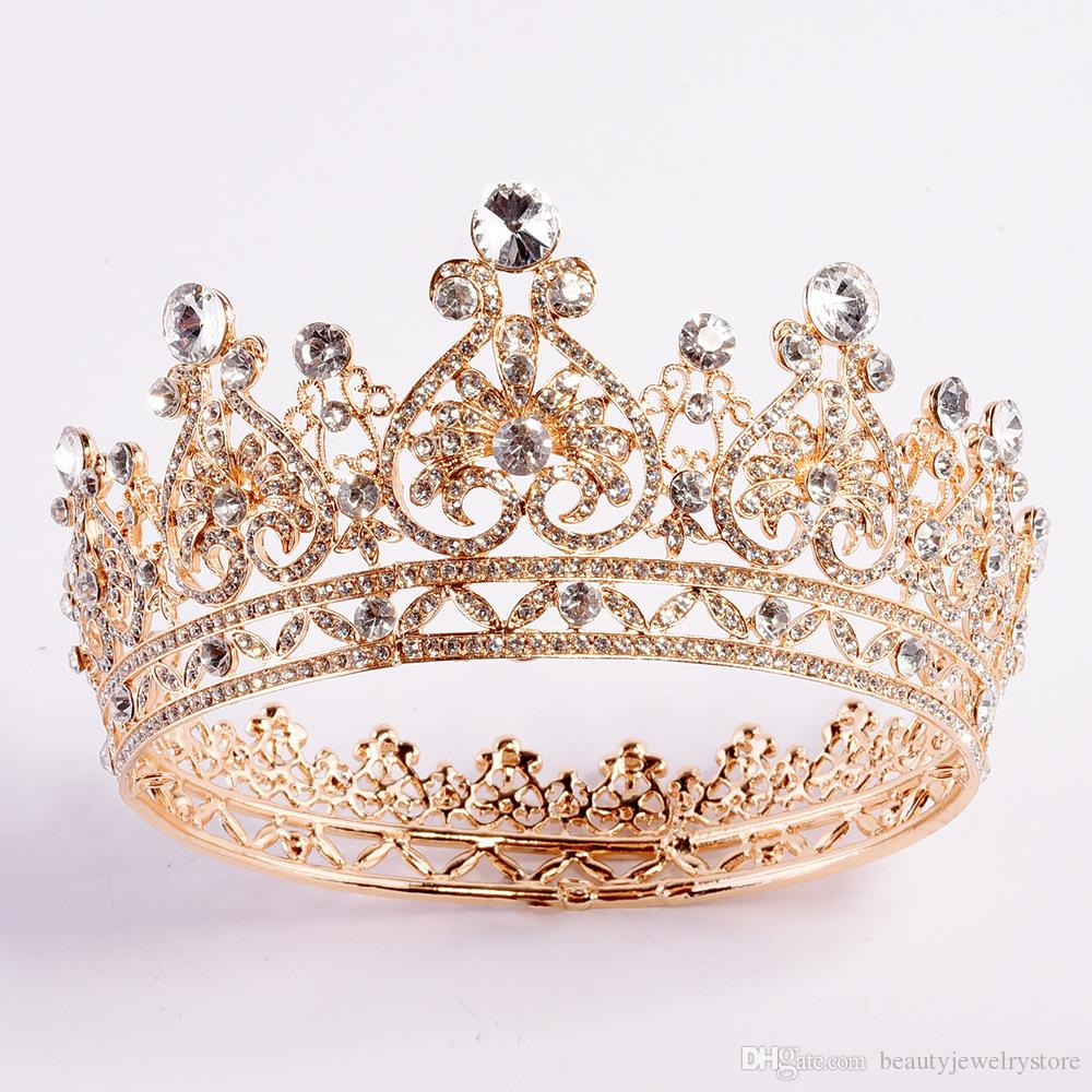 Europa Empire-Stil Runde Krone für Braut Prinzessin Haarschmuck Hochzeit Accessoires Gold-Tiaras Strass Gelin taci H317