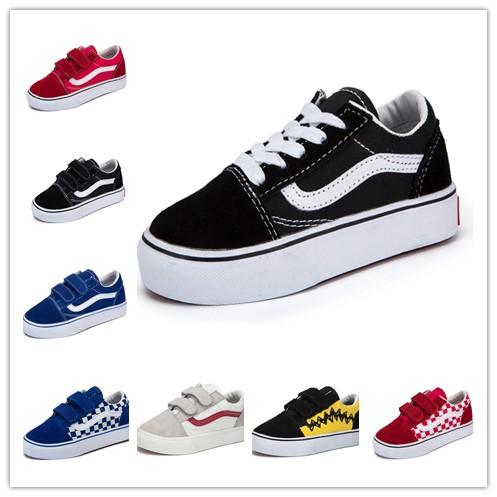 High Quality Children Shoes Infant Classic Old Skool Boys Girls Black White Red Baby Kids Canvas Skateboard Sport Sneakers For Gift 22 35 Kids White