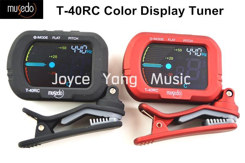 Musedo T-40RC شاشة ملونة كليب على الغيتار موالف رقمي للحصول على الغيتار / باس / الكمان / القيثارة المستقبلون أسود / أحمر