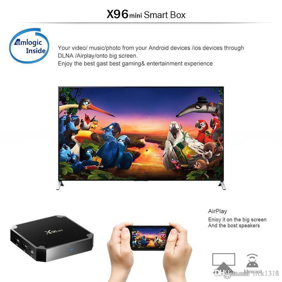 DHL X96 Mini Android 7.1 Amlogic S905W STB tv box 1GB + 8GB 2GB + 16GB eMMC Flash KD KDplayer 17.6 4K Smart Android TV Box VS TX3 MXQ PRO