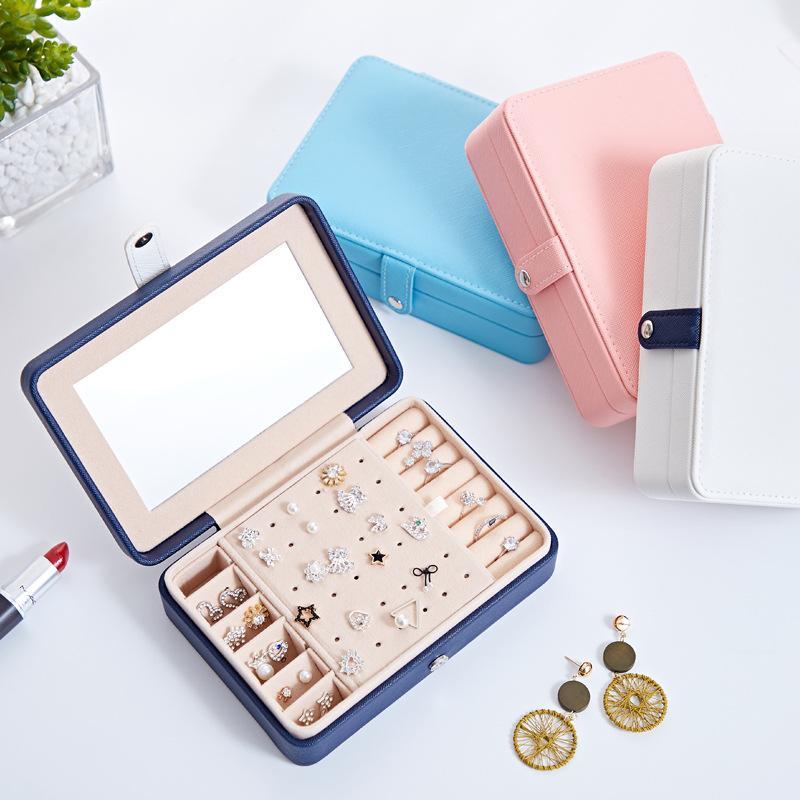 Корейский стиль свежие и простые девушки серьги Тарелка Jewelry Box Переносной Кожаный серьги кольцо Многофункциональный Jewelry Box хранения