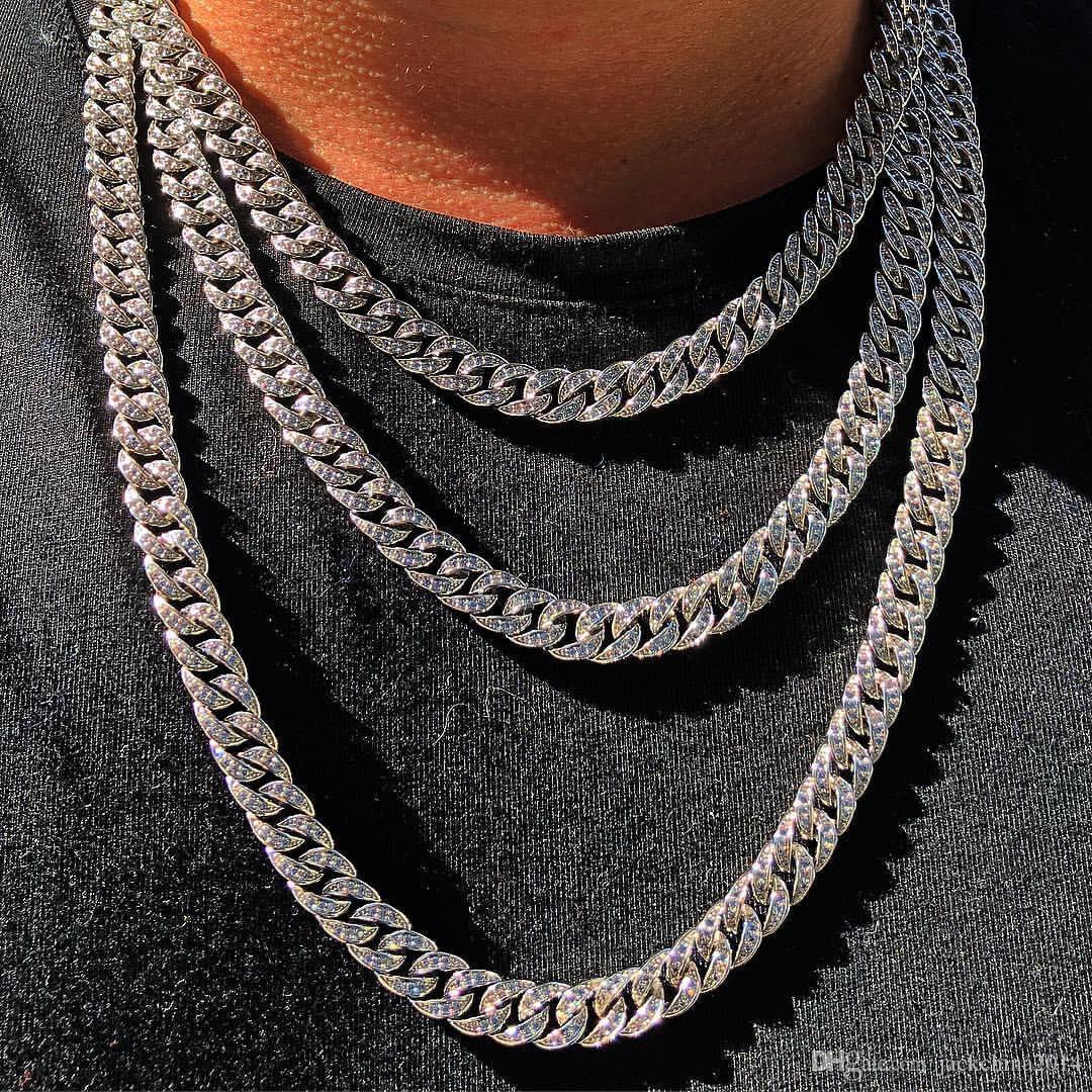 Hip Hop Mejor venta de moda de la vendimia de joyería de hielo de acero inoxidable de alta calidad a cabo Miami cadena cubana completa cristal de la CZ collar para las mujeres de los hombres