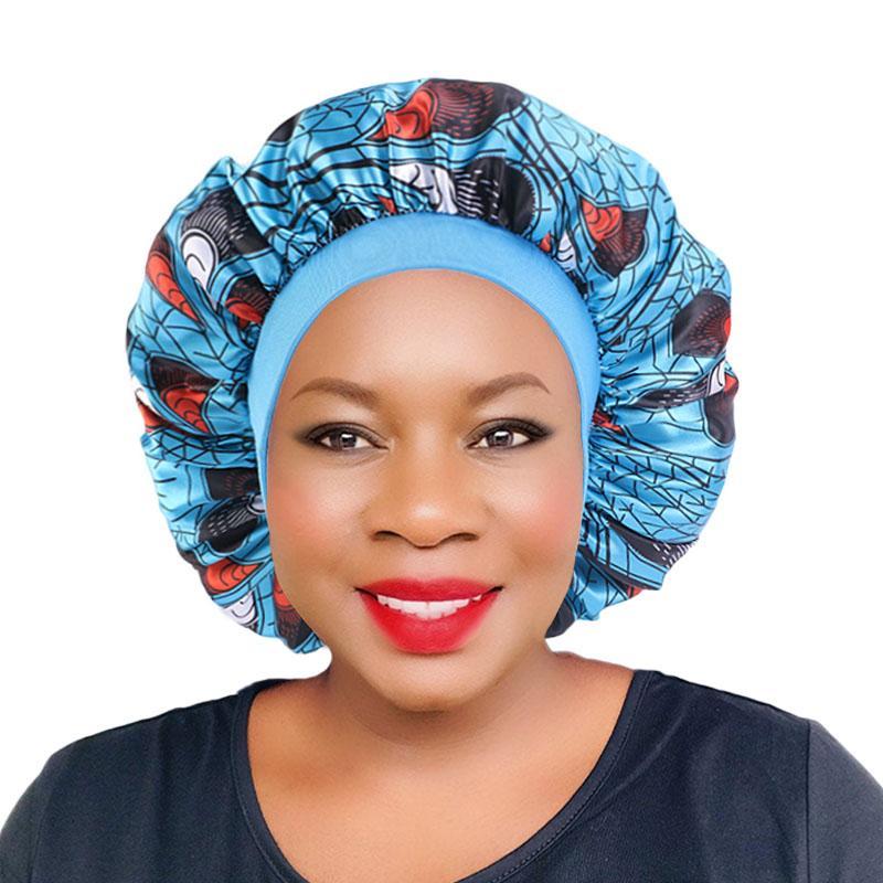 Patrones de satén del capo para las mujeres africanas de la impresión floral Sleep Cap sedoso Noche de las mujeres el cuidado del cabello Beanie accesorios del pelo de nuevo
