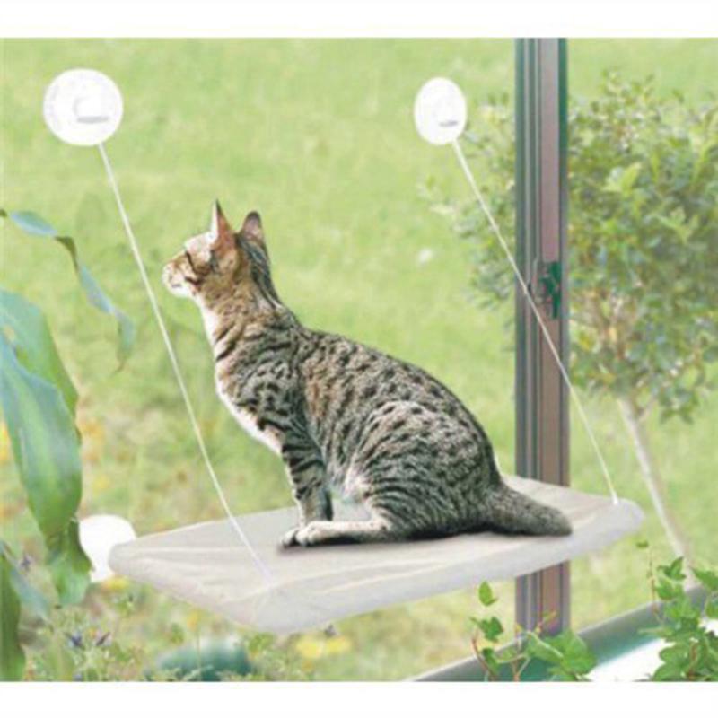Cat Appeso Bed Sunny Window Sedile Ventosa Cat Amaca a riposo Letto a muro Cuscino 20kg Ripiani salvaspazio