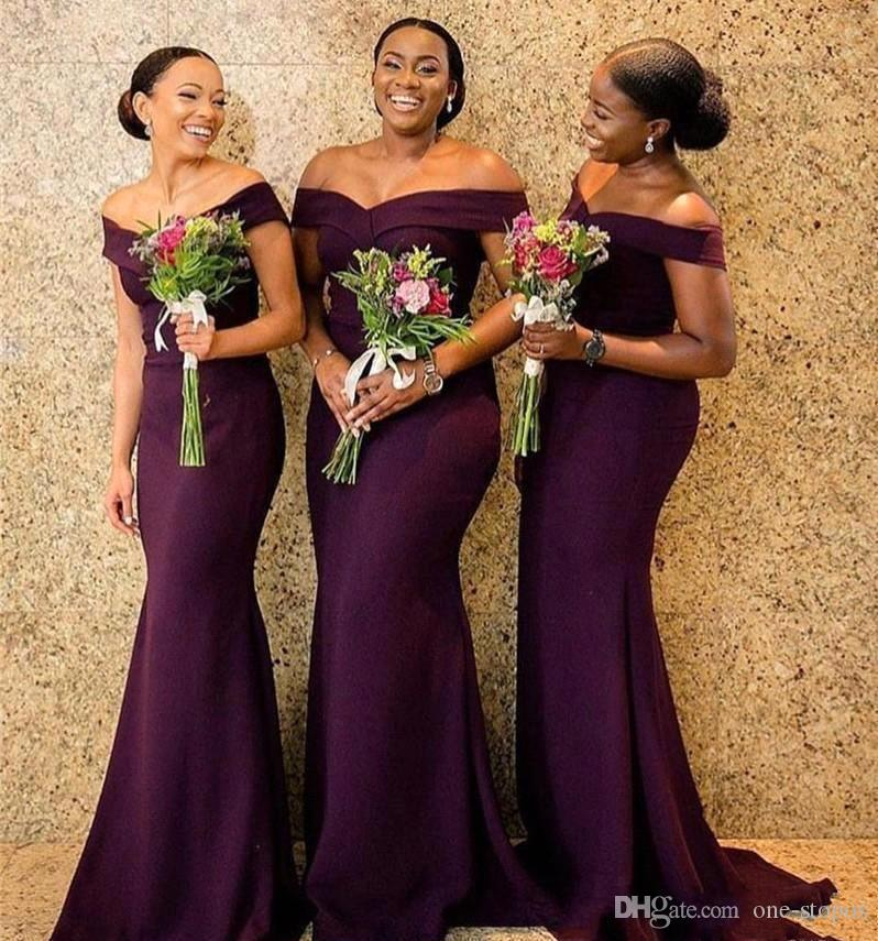 Vintage Off Shoulder Mermaid Bridesmaid Dresses Cheap Sheath African Wedding Guest Gown Long Formal Party Prom Evening Dresses BM0850