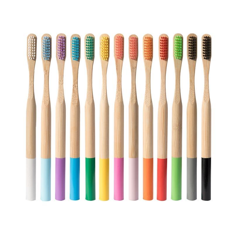 Kraft ile yüksek kalitede Yeniden kullanılabilir diş fırçası bambu ahşap yuvarlak sap Yumuşak kıllı ucuz seyahat otel kutu