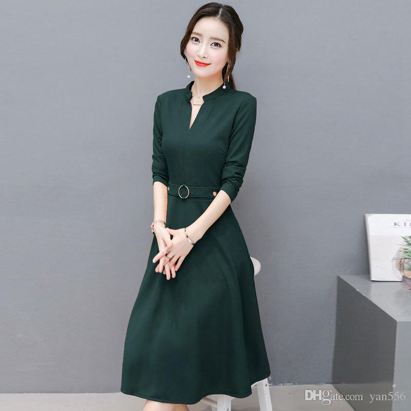 New Fashion Women Dress Autumn 2019 Casual Chiffon Dresses Elegant V-neck Long Sleeve Dress Plus Size Office Vestidos Mujer