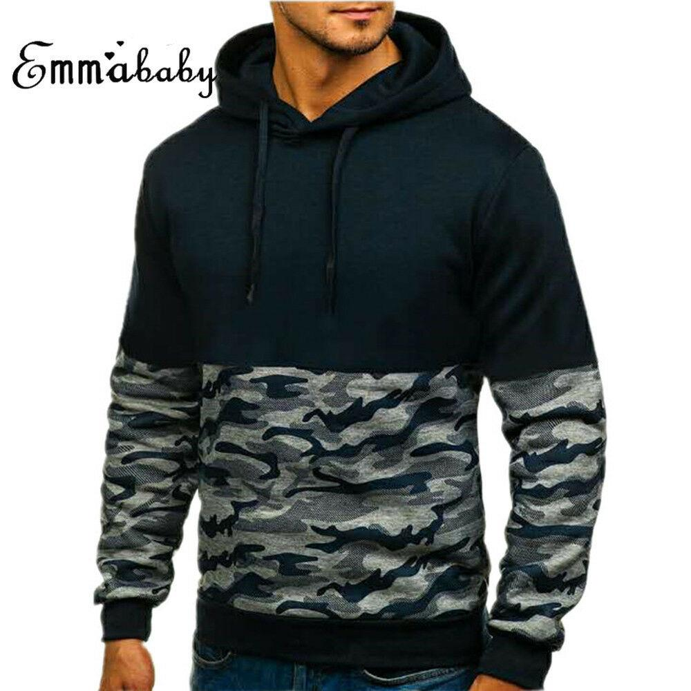 Printemps 2019 Camouflage Patchwork Sweats à capuche Homme Sweat Slim Fit sport Sweat à capuche Mode pour hommes