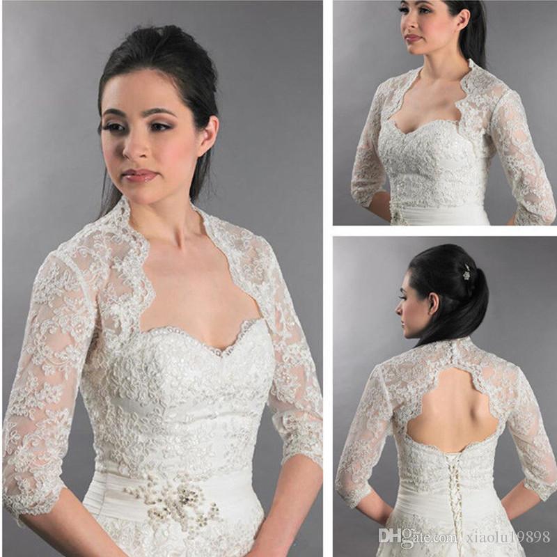 New 3/4 Sleeve Backless Front Open Sexy Lace Appliques Wedding Bridal Bolero Jacket Shawl White/Ivory Custom Size Jackets