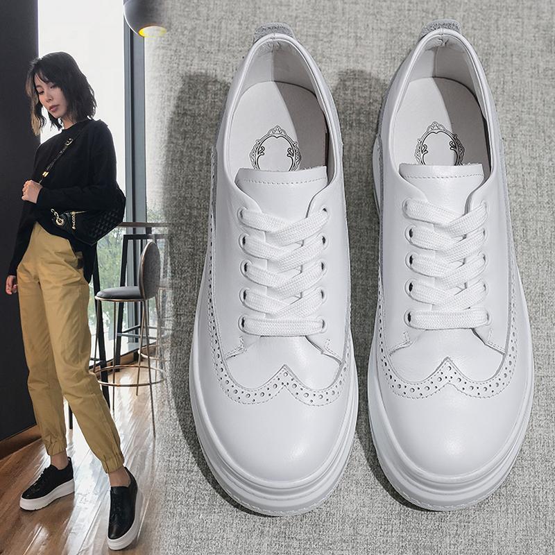 Sıcak Satış-2019 Beyaz Sneakers Kadınlar Deri Sneakers Yükseklik Günlük Ayakkabılar 6.5cm Artan