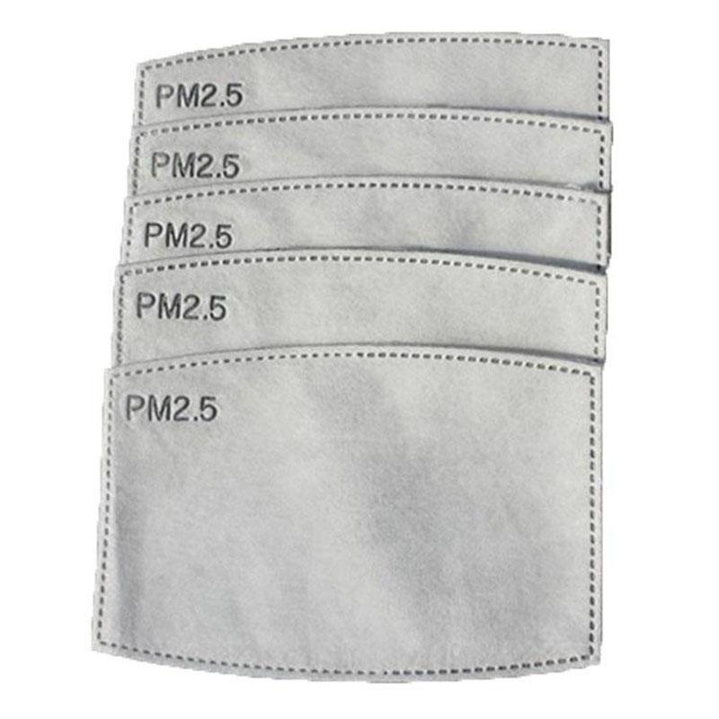 Cara máscara anti-niebla filtro máscara PM2.5 filtro reemplazable 5 capas no tejido de carbón activado a prueba de polvo anti-niebla máscara de filtro en stock