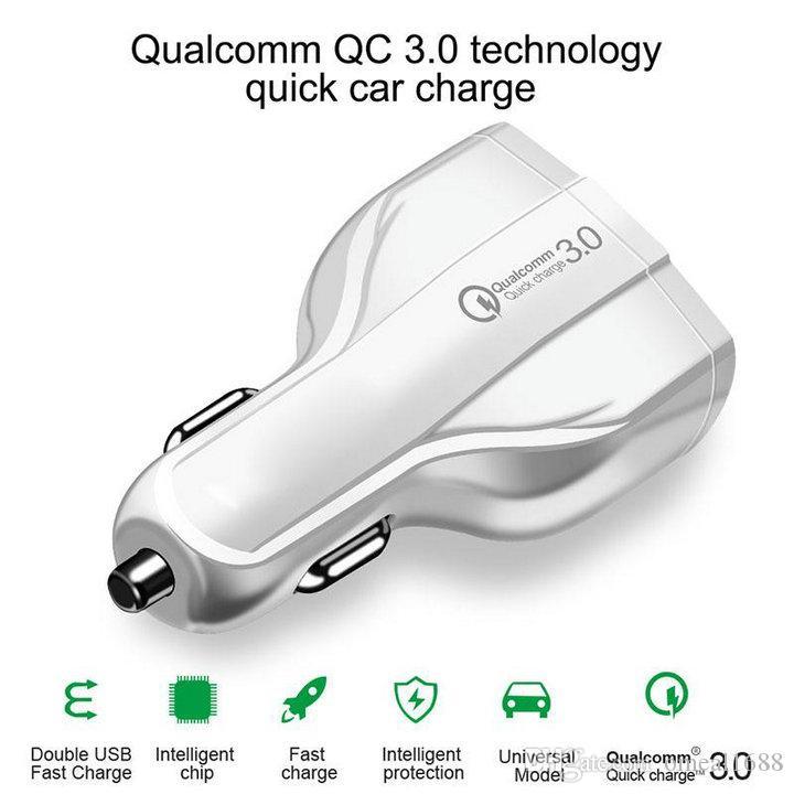 سريع الشحن السريع شاحن سيارة 3 منافذ USB نوع C 35W 7A السيارات وسيارات الشحن محول الطاقة لسامسونج S10 ملاحظة 10 الروبوت الهاتف
