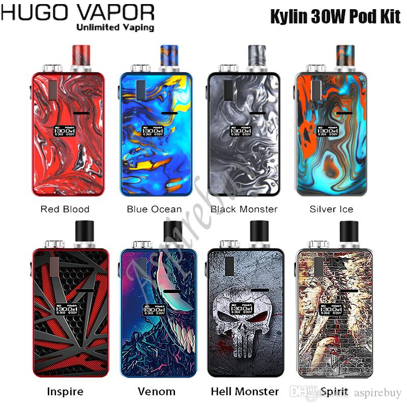 Kit Hugo Vapor Kylin 30W Pod Built-in 1000mAh batteria schermo OLED con 2.8ml Kylin Pod Kylin 0.6ohm 1.2ohm Coil Authentic