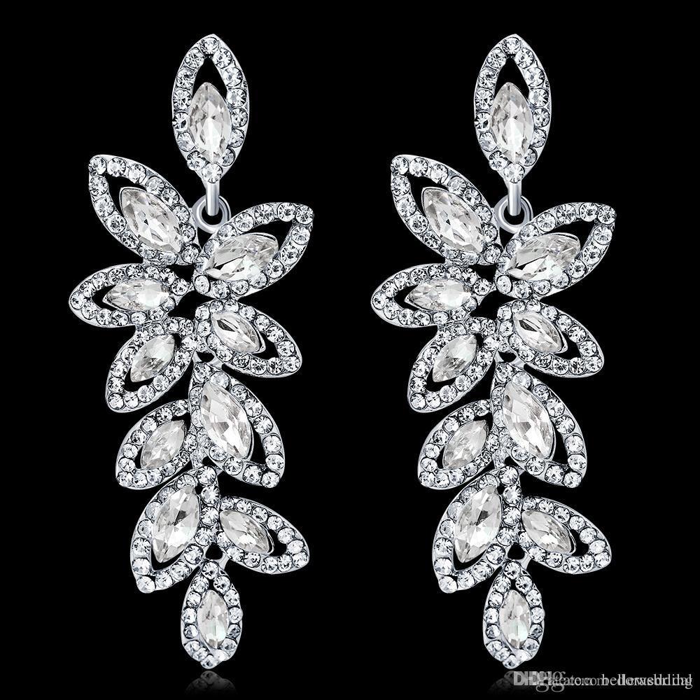 2019 серьги с кристаллами стразы капли воды серьги свадебные украшения свадебные аксессуары для невест DB-176